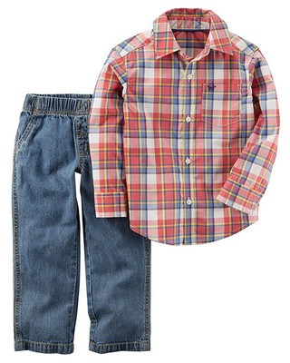 Conjunto de 2 peças -  Carter´s -  Plaid Button-Front & Denim Pant na internet