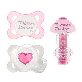 Kit de Chupeta - MAM - I Love Daddy - Rosa