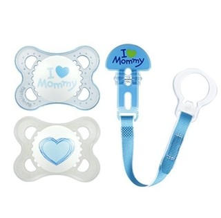Kit de Chupeta - MAM - I Love Mommy - Azul