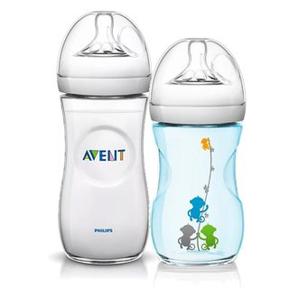 Kit de 2 Mamadeiras Pétala - 260ml Azul com Macacos e 330ml Transparente - Philips Avent