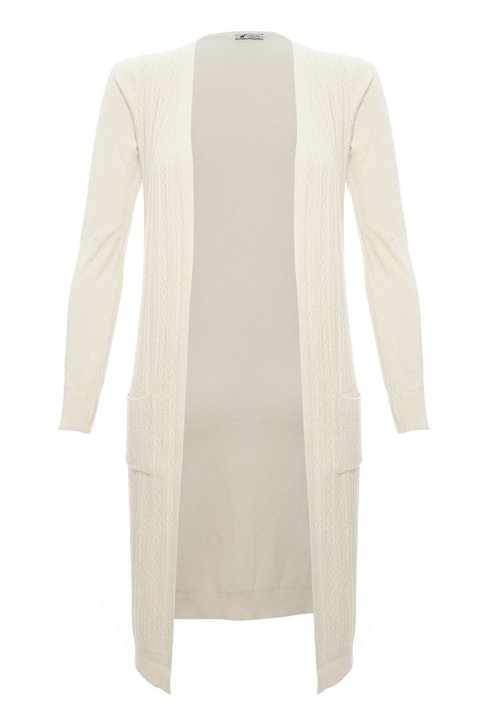 Cardigan Longo Tricot Off White