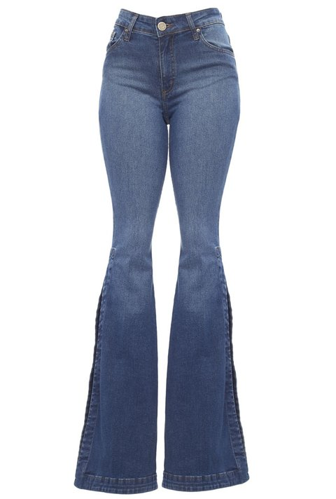 Calça Denim Flare Fenda Lateral