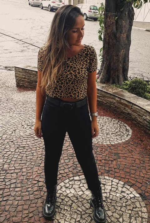 Cropped T-shirt Animal Print