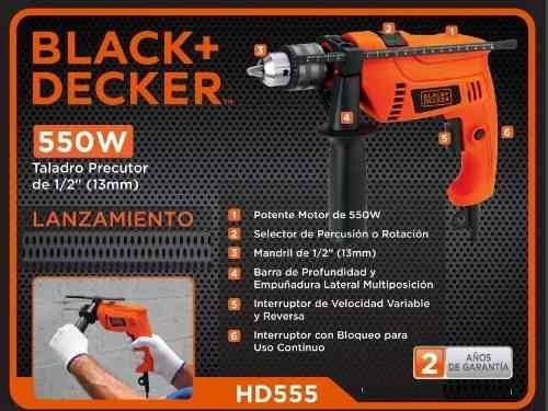 Taladro Percutor Black And Decker 13mm 550w Hd555 - Oxigeno Alvarez Srl