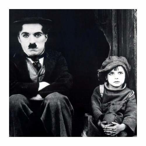 Cuadro Focu Deco Lienzo Canvas 20x20 Chaplin And Kid