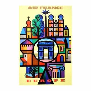 Cuadro Focu Deco En Lienzo Canvas 20x30 Air France Europe 2
