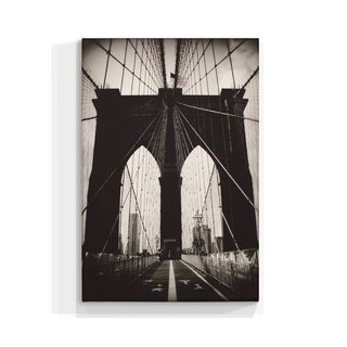Cuadro Focu Deco En Lienzo Canvas 20x30 Brooklyn Bridge B & N