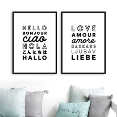SET DE 2 CUADROS HELLO LOVE