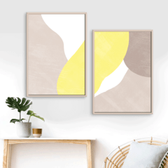 SET DE 2 CUADROS ABSTRACTOS LEMON CREAM