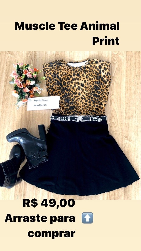 Blusa Muscle Tee TAM M Animal Print na internet