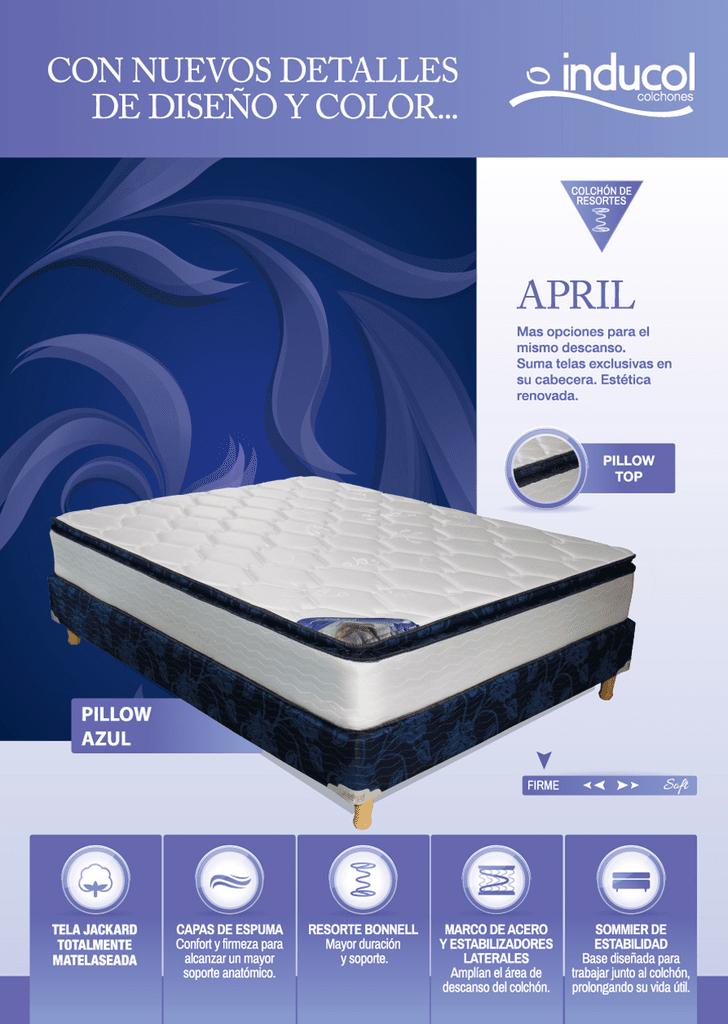 Colchón Inducol April Azul PT (1.40 x 1.90)