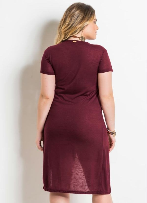 Blusa Alongada Bordô Plus Size Quintess na internet