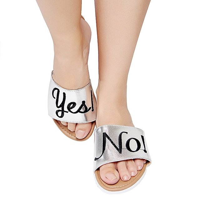 FLAT SLIDE YES/NO PRATA - comprar online