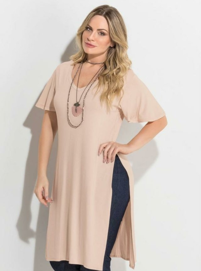 Blusa Alongada Nude Fendas Plus Size Quintess