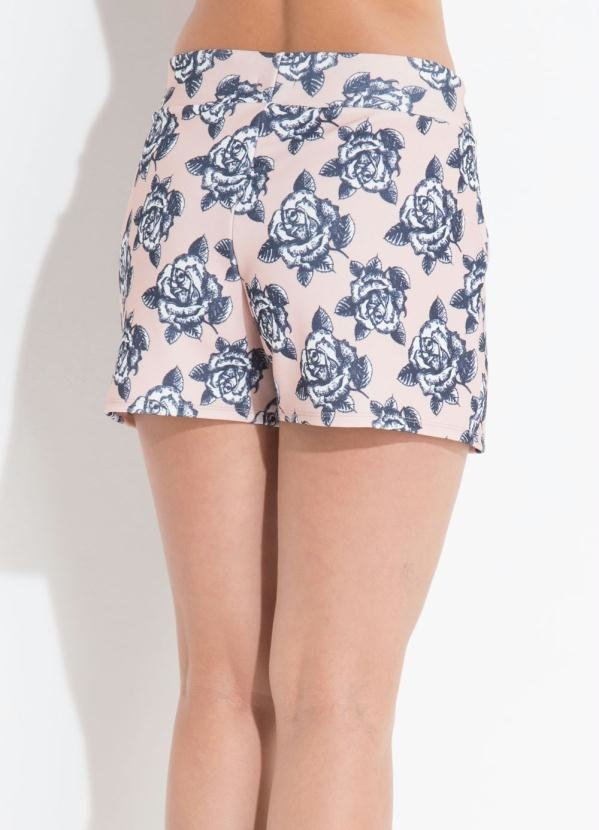 Short Floral Rosa com Bolso Quintess na internet