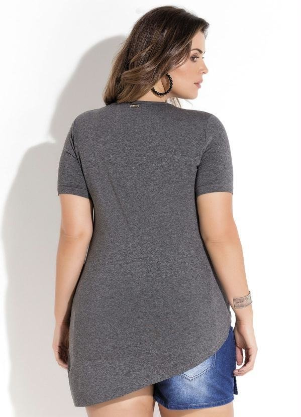 T-Shirt Assimétrica Mescla Plus Size Quintess - comprar online
