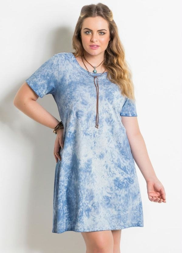 Vestido Evasê Azul Estampado Plus Size Quintess