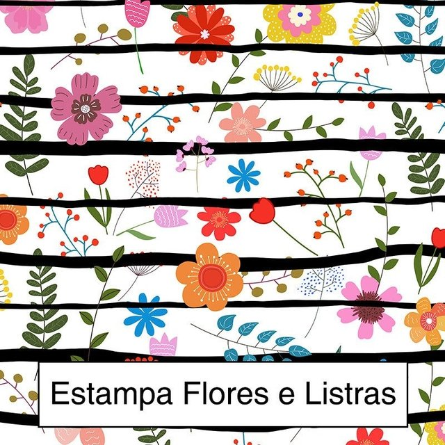 Rolo Lateral Estampa Flores e Listras - Maxi Floral - loja online