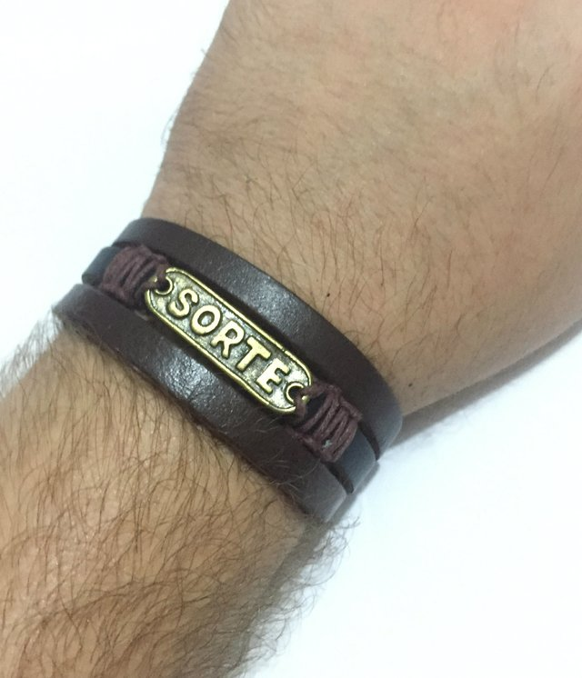 Triple brown leather bracelet Lucky - buy online