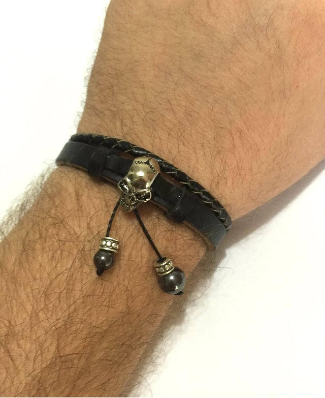 Black leather bracelet with skull and hematite stones. - buy online