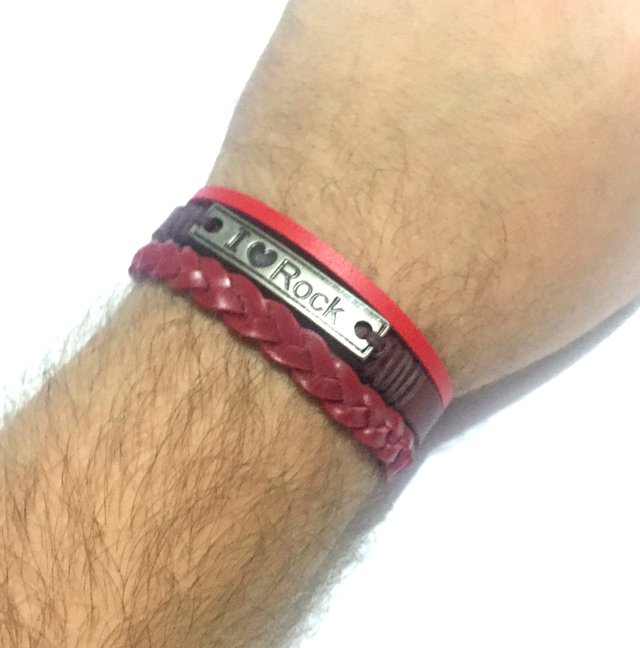 I AM ROCK Bracelet in smooth and braided red leather. - buy online