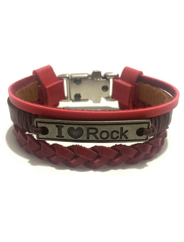 I AM ROCK Bracelet in smooth and braided red leather.