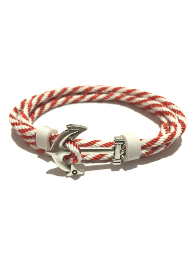 Parachute rope bracelet with silver anchor