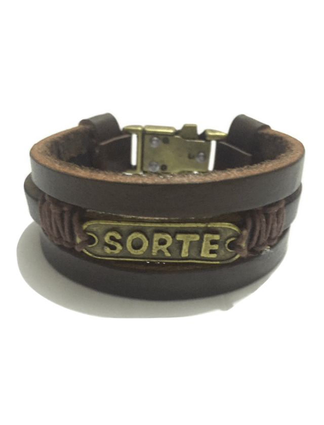 Triple brown leather bracelet Lucky
