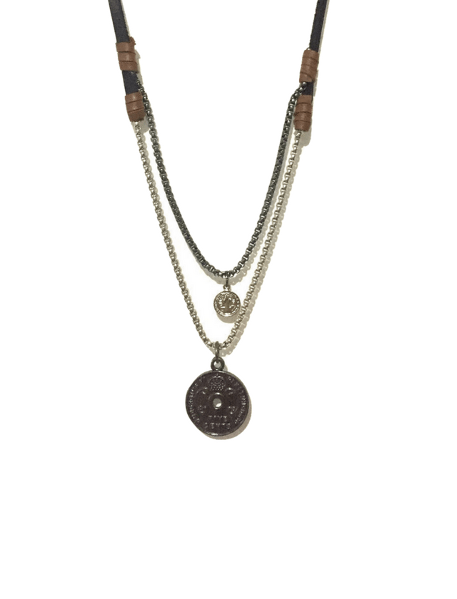 Black and brown double leather necklace with chains