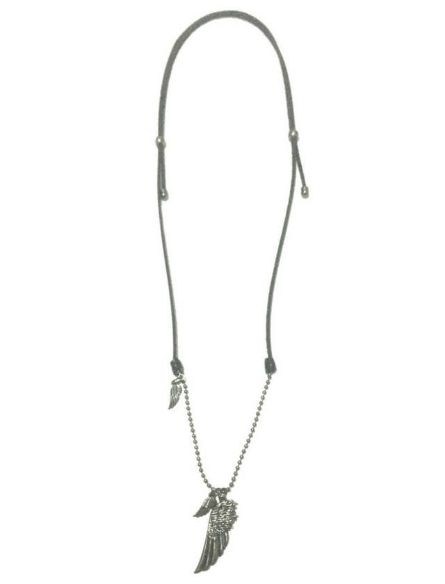 Black leather necklace with 3 wings - buy online