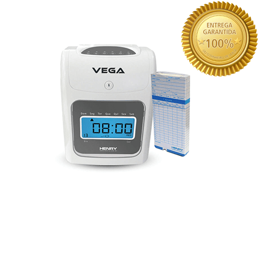 d6b4726c9 Relógio de Ponto Cartográfico Vega com 50 cartões com botão para corte da  bateria