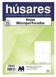 Resma Husares 7847 A4 microperforada en cruz Caja x5