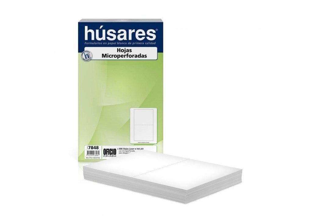Resma Husares 7848 Oficio microperforada al medio Caja x5