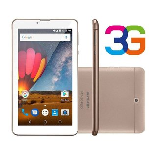 Tablet Multilaser M7 3g Plus Quad Core 1gb Ram Camera Tela 7 Memoria 8gb Dual Chip Dourado