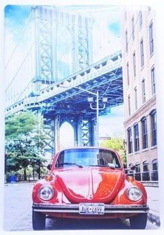 Placa Decorativa Metal Fusca Red