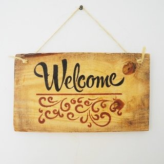 placa decorativa welcome