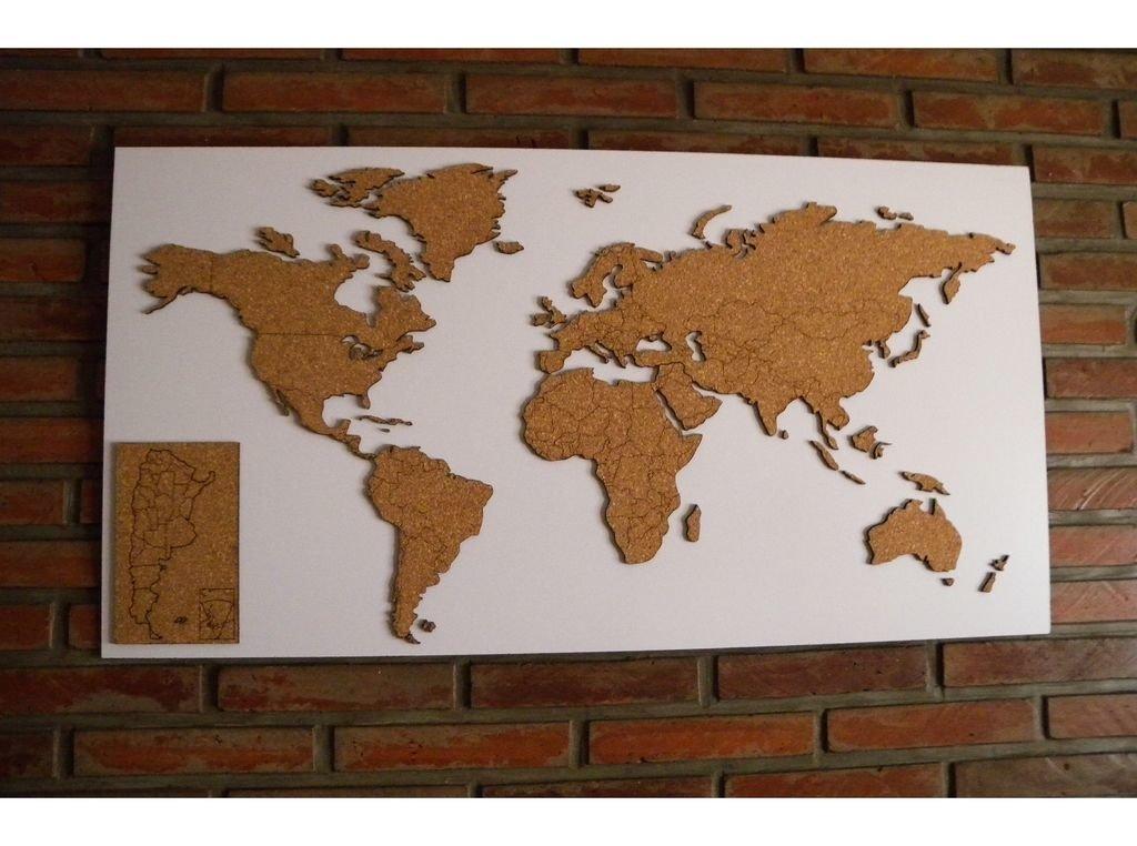Mapamundi de corcho natural accesorio mapa de argentina con bastidor 105x55cm - Mapa de corcho ...