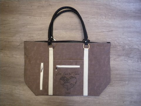BOLSO DE PLAYA - CHOCOLATE/BLANCO - LIVE, LOVE & TRAVEL
