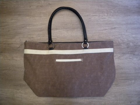 BOLSO DE PLAYA - CHOCOLATE/BLANCO - LIVE, LOVE & TRAVEL - comprar online