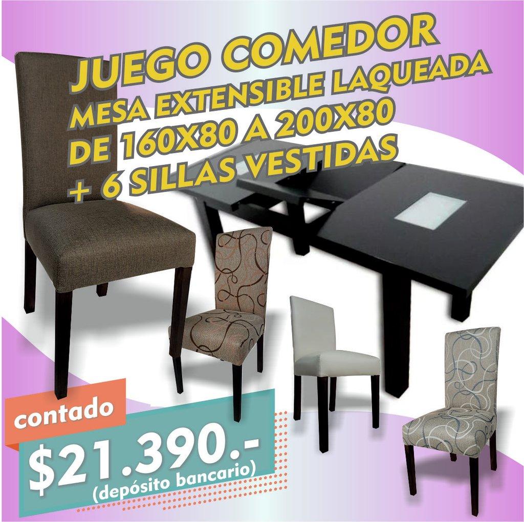 Juego Comedor Mesa Extensible Laqueada 160 + 6 Sillas Oferta