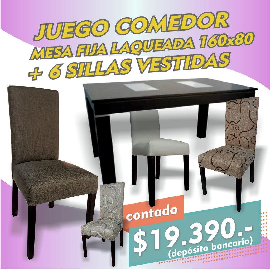 Juego Comedor Mesa Fija Laqueada 160 + 6 Sillas Agus Oferta!