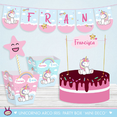 Unicornio Arco Iris: Party Box ¨Mini Deco¨