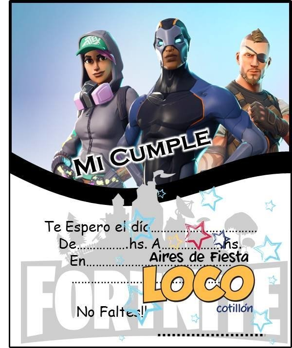 Invitaciones Fortnite X10
