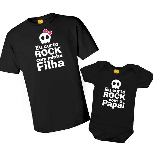 e1dfbd3a9f97 Kit camiseta e body - Eu curto rock com o papai menina