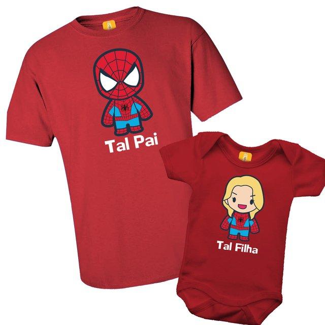 b838b58abfd897 Kit camiseta - Tal pai, Tal filha Homem aranha