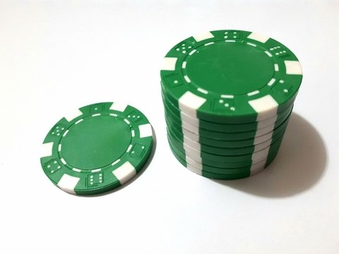 Rollo 25 fichas de Poker Modelo Dice Color Verde