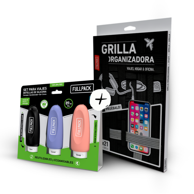 Kit Organizador de Viaje Grande Doble + 3 Botellas Silicona Fullpack