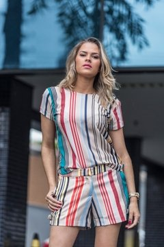 Blusa crepe Stripe Colorida