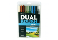 Set Dual brush pen de colores Paisaje, 9 colores + Blender