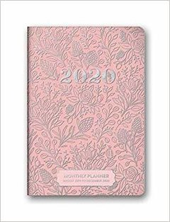 Agenda 2020 Bolsillo Mensual 17 Meses - Flores Folia Plata Orange Circle